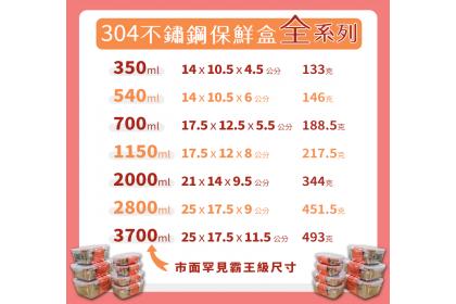 保鮮專家 不鏽鋼保鮮盒 大號三件組 (2000+2800+3700)